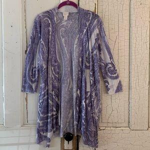 Chico's purple paisley cardigan Size Medium